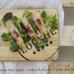 Rotolini di carpaccio di pesce spada e melone