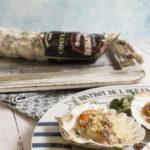 Capesante con fonduta di Parmigiano e Salame Osolemio Clai