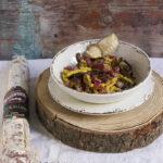 Passatelli asciutti con Salame Corallina Clai e funghi porcini